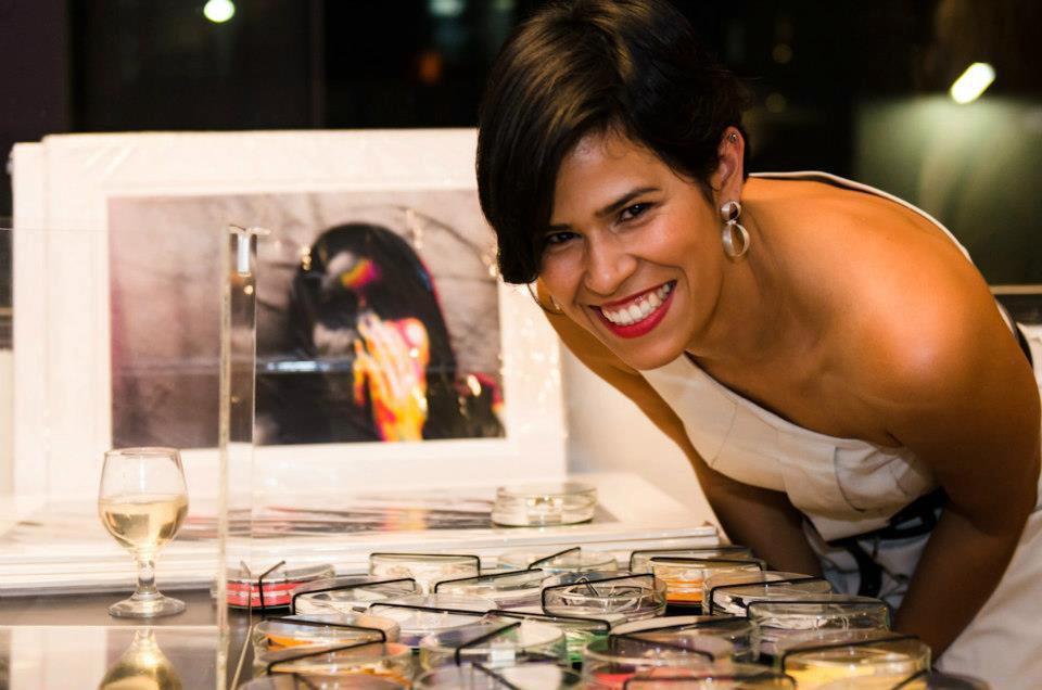 Laura Malozzi no lançamento de sua coleção